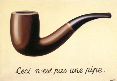 "A picture of Magritte's famous painting of a pipe with the words ""This is not a pipe"" written underneath it in French."