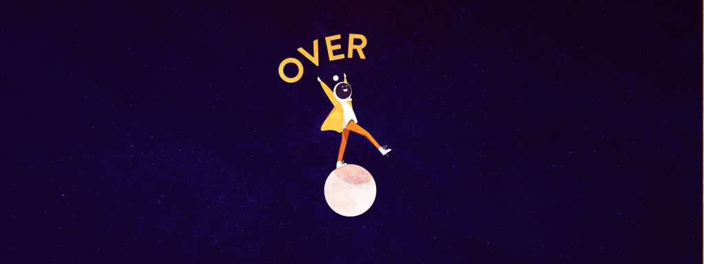 A woman dancing on the moon